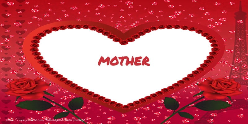 Greetings Cards for Love for Mother - Name in heart  mother